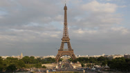 Stock Video Footage of Aerial View Paris Eiffel Tower silhouette Pont d'Iena Car Traffic Busy Rush Hour