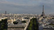 Stock Video Footage of Aerial View Paris Europe Beautiful Eiffel Tower Buildings Houses Roofs blue sky