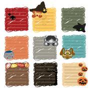 halloween stickers note - stock illustration