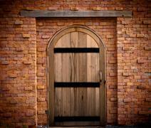 wood door - stock photo
