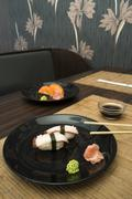 sushi in sushi bar - stock photo