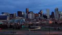 Nightfall over Denver City Skyline Stock Footage