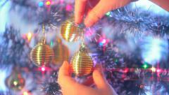 Girl Dresses Up Christmas Tree - Christmas 6 Stock Footage
