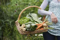 Midsection Of Cropped Woman With Vegetable Basket - stock photo