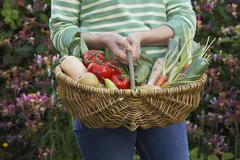 Stock Photo of Midsection Of Woman With Vegetable Basket