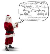 santa claus with merry christmas message - stock photo