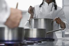 Chefs Cooking In Kitchen - stock photo