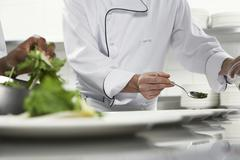 Chefs Preparing Salad - stock photo