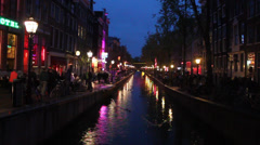 Night view of the famous Red Light district Stock Footage