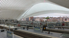 Futuristic Liege-Guillemins railway station Stock Footage