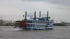Touristic paddle steamer Louisiana Star Stock Footage