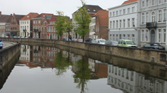 Canal and houses Stock Footage