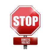 stop domestic violence road sign illustration - stock illustration