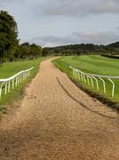 horse riding track in cotswold district of england - stock photo