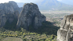 View from above on the  Meteora and Kalambaka village, Greece Stock Footage