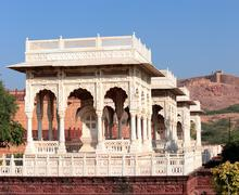 pavilions in jaswant thada mausoleum - india - stock photo