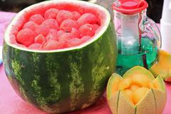watermelon party to celebrate summer with mint and melon drink watermelon sli - stock photo