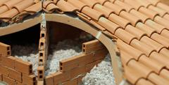 Attic insulation with the insulating material of the house Stock Photos