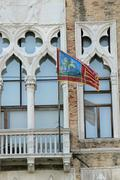 flag of veneto region in headquarter of regione veneto - stock photo