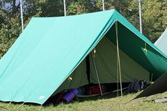 tent of boy scout camp - stock photo