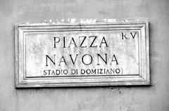 Road sign with an indication of the piazza navona in rome italy Stock Photos