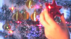 Girl Dresses Up Christmas Tree 10 Stock Footage