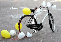 Decorated bicycle to make a joke to two future bride and groom just married Stock Photos