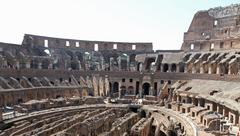 interior of the colosseum ancient roman amphitheatre where brave gladiators f - stock photo