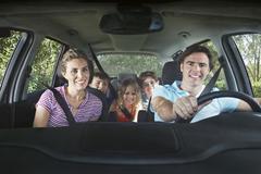 Happy Family In Car Stock Photos
