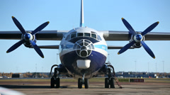 Antonov Cargo Propeller Airplane - stock footage