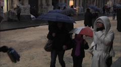Overly crowded street in Catania, filled with umbrella. Stock Footage