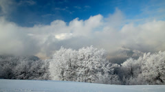 Landscape with winter trees, snowy mountains and clouds Stock Footage