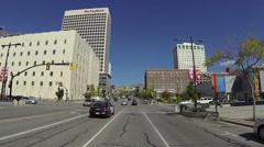 Salt Lake City Utah urban center driving street 4 police POV HD 0161 Stock Footage