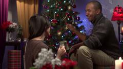 Couple decorating a Christmas tree - stock footage