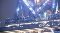 Eiffel tower closeup tourists, paris france 4k Stock Footage