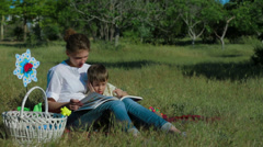 Reading Book With Mommy - stock footage