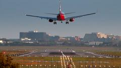 Airliner is Landing at Hamburg Airport (HAM) Stock Footage