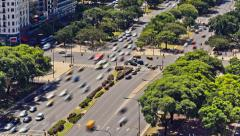 City Traffic Time Lapse Buenos Aires Above Stock Footage