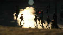 Sunset pedestrians in Rome 1 (slomo) Stock Footage