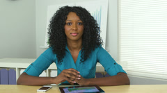 African American business woman holding video conference Stock Footage