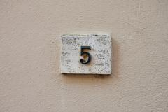 three dimensional house number five - stock photo