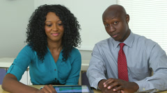 African American business partners holding video conference Stock Footage