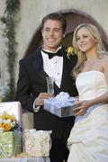 Couple With Wedding Presents - stock photo