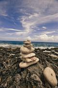 Cairn on the Caribbean Stock Photos