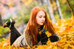 girl and colors of fall - stock photo
