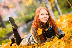 Girl and colors of fall Stock Photos