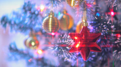 Beautifully Decorated  Christmas Tree and Red Star 11 Stock Footage