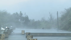 Strong Hurricane Winds Lash Town Stock Footage