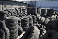 Tires In Recycling Centre - stock photo