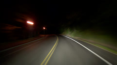 Driving Windy Terwilliger Road Night Stock Footage